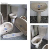 12. BATHROOM-SET KERAMAG in cream-color incl. washbasin + Combination WC + water-tank + shelf + pedestal